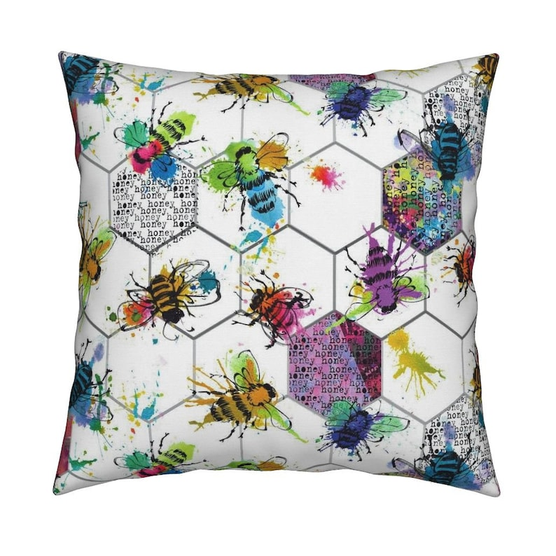 9a322bca566 Hexagon Bees Pillow bee splat by karismithdesigns