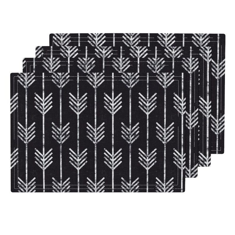 Charcoal Gray White Cloth Placemats by Spoonflower Set of 4 Boho Placemats - Arrows In Chalk by holli/_zollinger