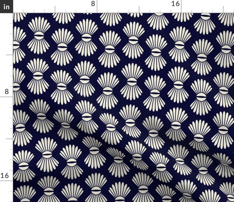 Set of 2 - Scallop Shells Midnight Blue by dunnspun Geometric Placemats Abstract  Seashell Seaside Beachy Cloth Placemats by Spoonflower