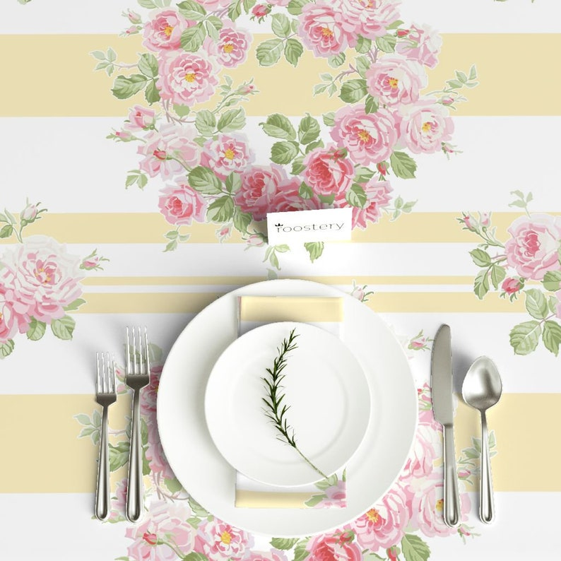 May Day Summer Roses by lilyoake Yellow Stripes Tablecloth Feminine Floral Cotton Sateen Tablecloth by Spoonflower