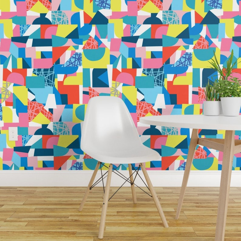Colorful Abstract Wallpaper Double Roll By Spoonflower Geometric