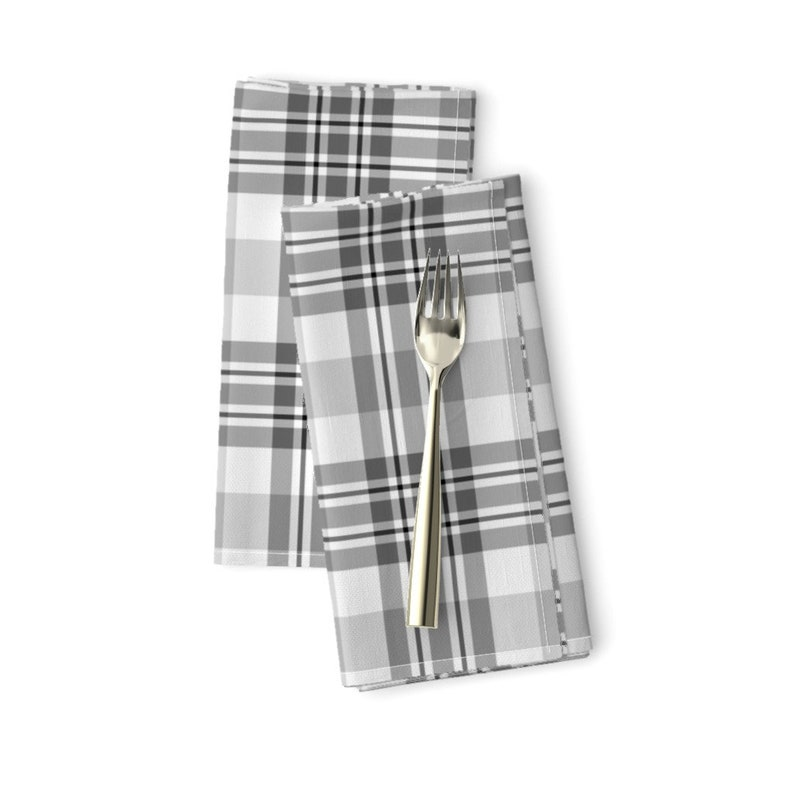 - Gray And White Plaid by northern/_whimsy Set of 2 Farmhouse  Plaid Gray Tartan Plaid Cloth Napkins by Spoonflower Rustic Dinner Napkins