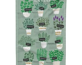 Tea Towel Calendar Set - Herbs tea towel calendar 2018 by Heleen_vd_thillart - Linen Cotton Tea Towel Set by Roostery w/ Spoonflower