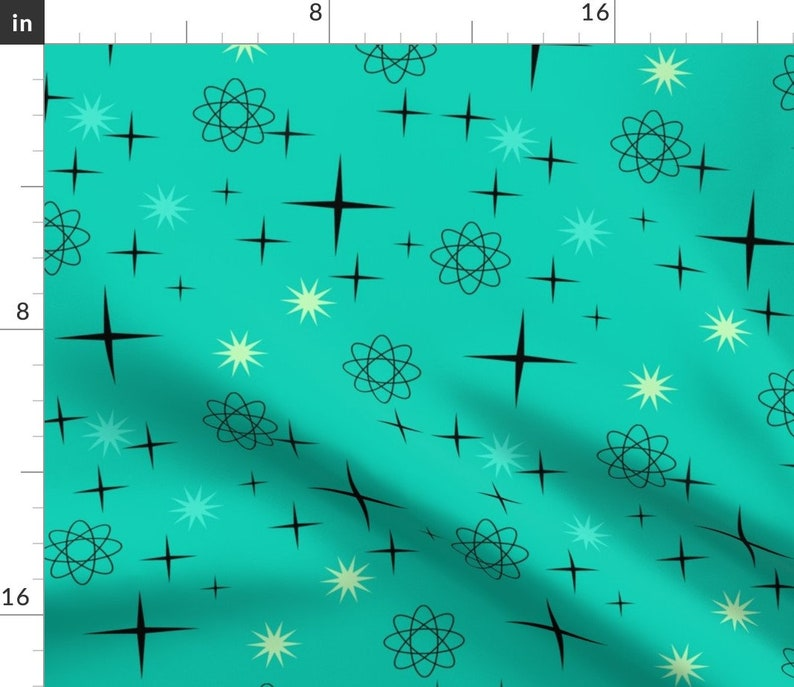 - Starburst On Turquoise  by lillierioux Set of 2 Atomic Dinner Napkins Mid Century Modern  Turquoise Stars Cloth Napkins by Spoonflower