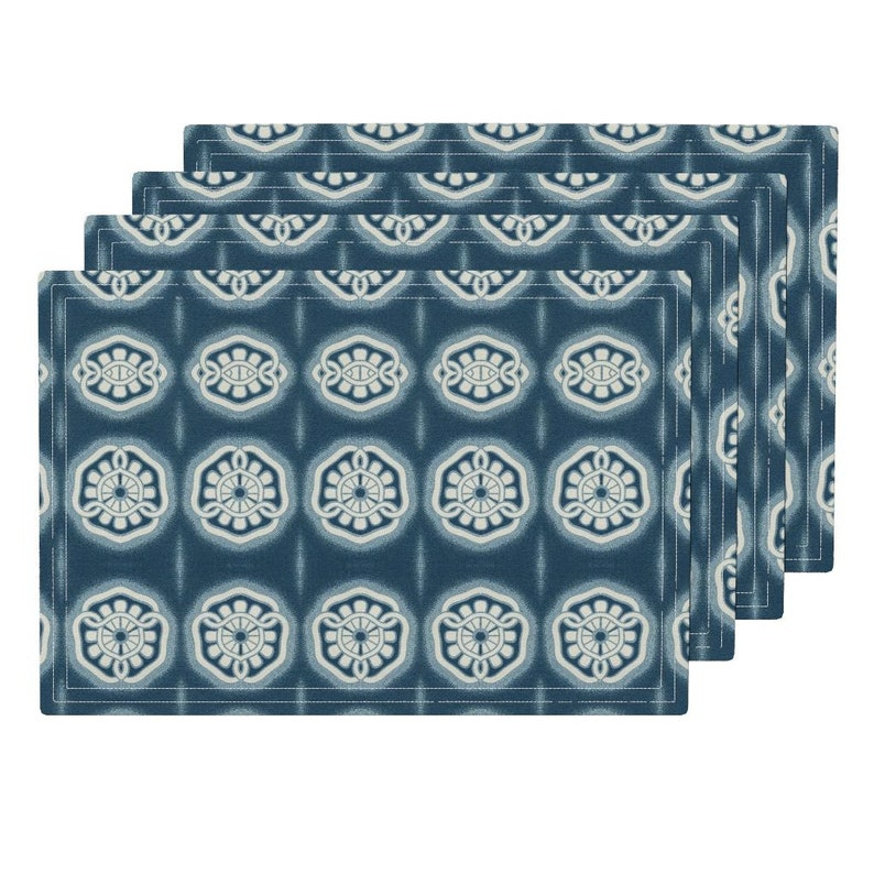 - Japonaise 5 by hypersphere Set of 4 Oriental Abstract Geo Asian Indigo Traditional Cloth Placemats by Spoonflower Japanese Placemats