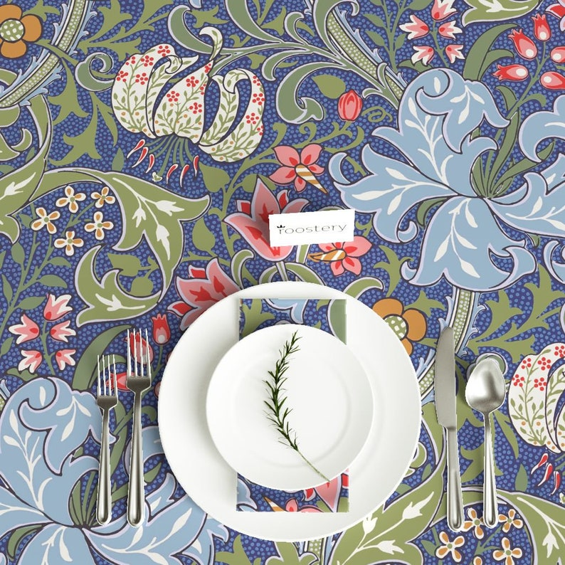 Floral Damask Golden Lily Blue Cotton Sateen Tablecloth by Spoonflower Art Nouveau Tablecloth Golden Lily Intense  by peacoquettedesigns