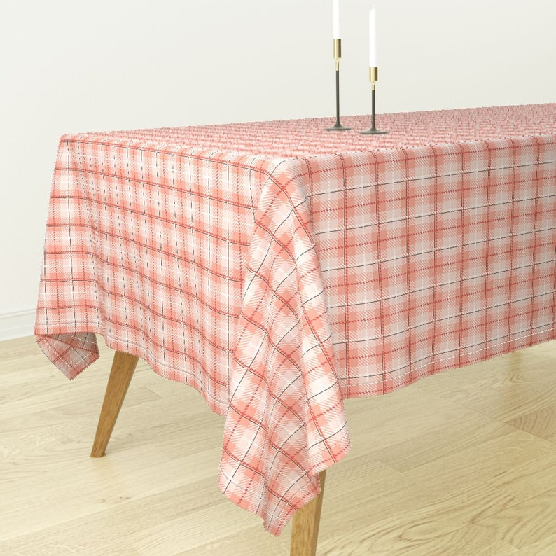 Fall Blossom 107 by northeighty Gingham Tablecloth Plaid Cotton Sateen Tablecloth by Spoonflower