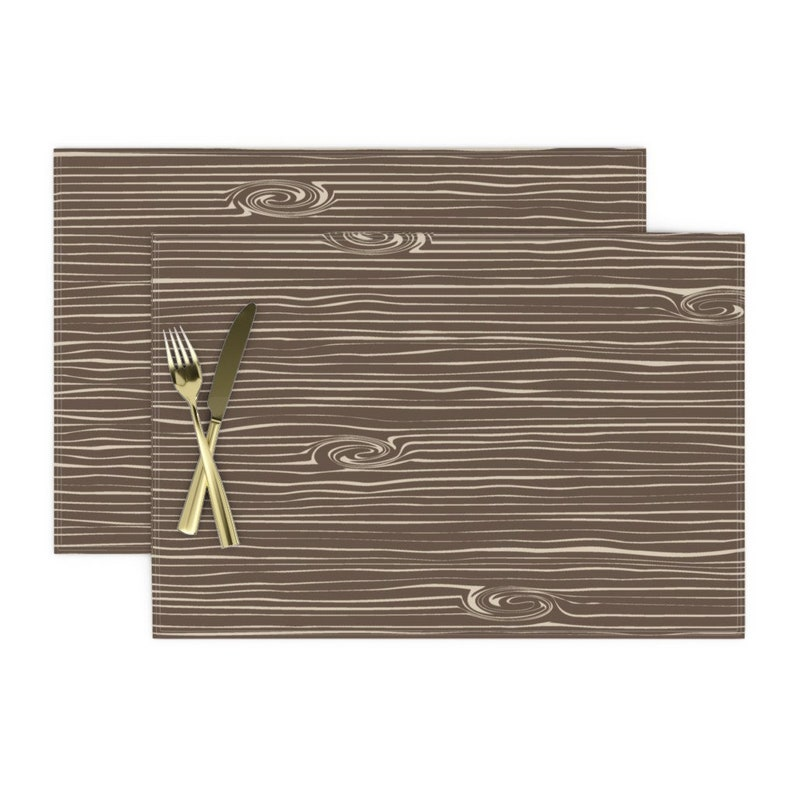 Forest Tree  Nature Country  Cloth Placemats by Spoonflower Woodgrain Placemats Set of 2 - Woodgrain  Brown/&tan by littlearrowdesign