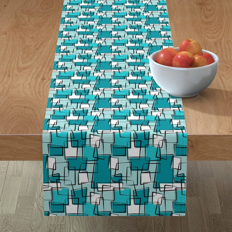 aquaturquoise Mobox Repeat  Water Cool Aqua Mod Cotton Sateen Table Runner by Spoonflower Turquoise Table Runner by tonyanewton
