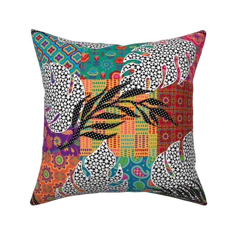 Malibu Creative Throw Pillow Quilt Leaves Tropical Bohemian 18x18 ...