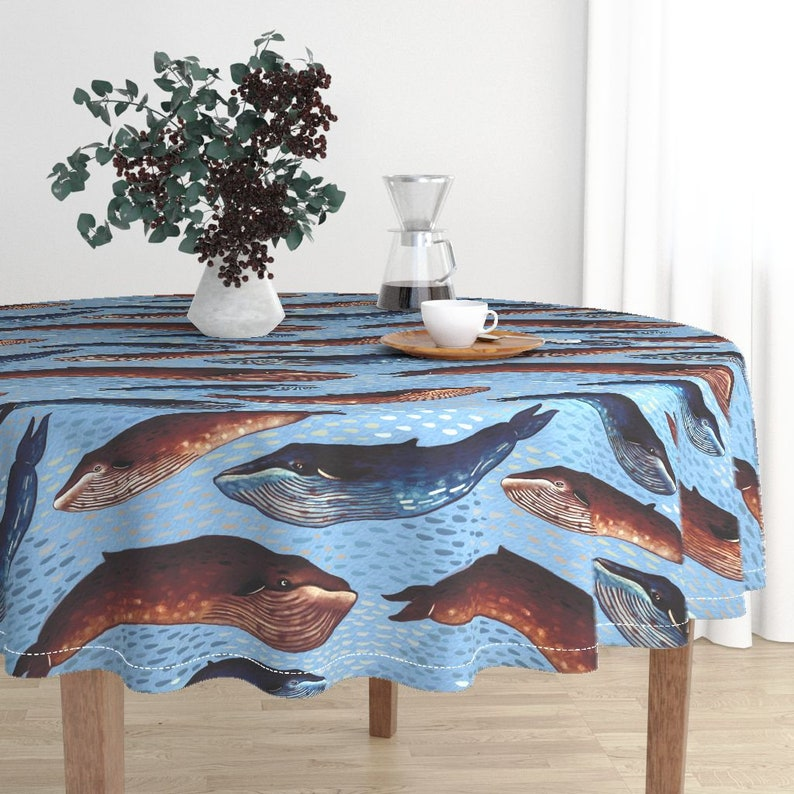 Whales On Blue Round Tablecloth Abyssal Choir by bound/_textiles Ocean Life Cotton Sateen Circle Tablecloth by Spoonflower
