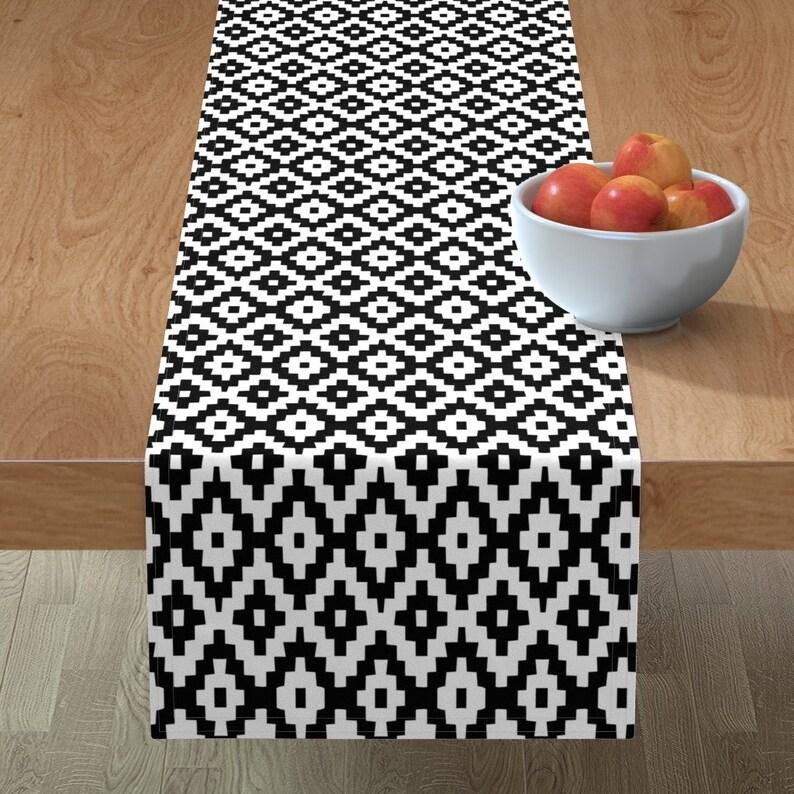 Kilim by gomboc Geometric Tribal Table Runner Black And White  Kilim Inspired Cotton Sateen Table Runner by Spoonflower