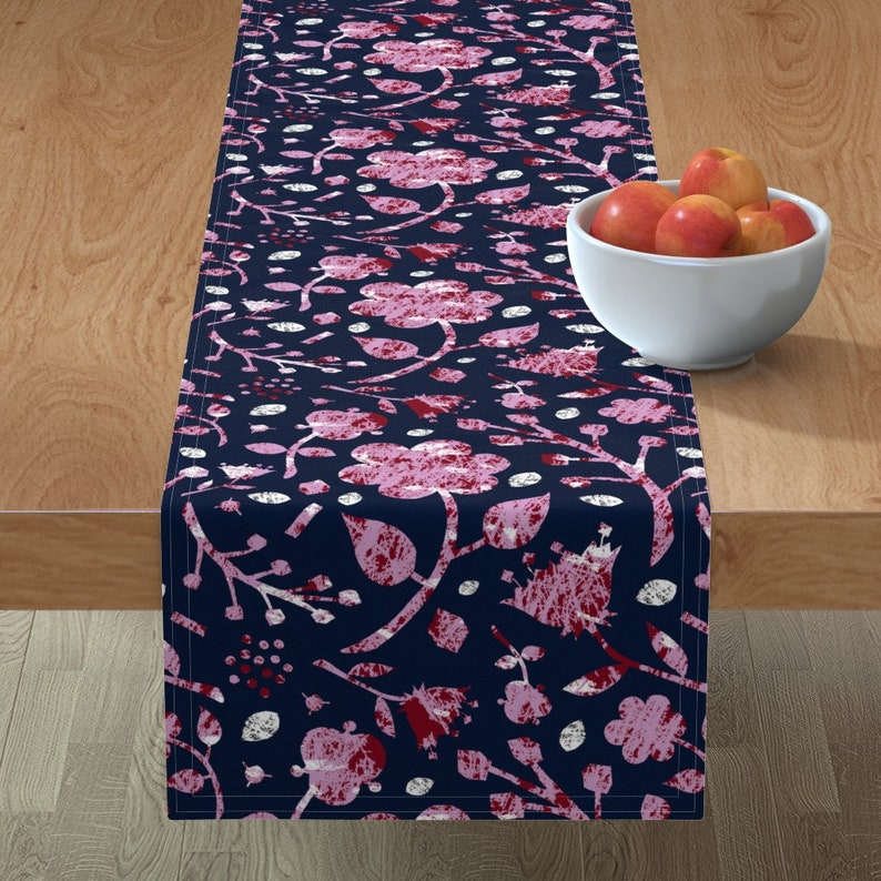 Batik  Navy Orchid Lavender  Cotton Sateen Table Runner by Spoonflower Orchid And Navy Floral by lucybaribeau Floral Table Runner