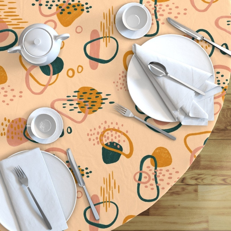Pebbles  Cotton Sateen Circle Tablecloth by Spoonflower Simple Abstract by new/_branch/_studio River Side Round Tablecloth Riverside
