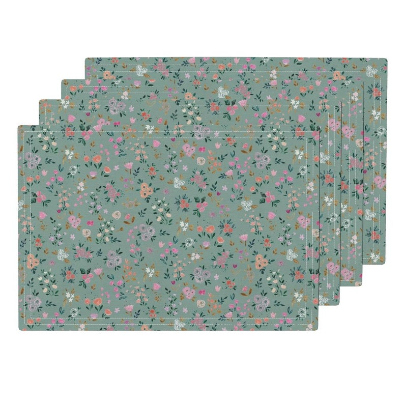 - Darlene Floral Ditsy Blue Sage by crystal/_walen Watercolor Cloth Placemats by Spoonflower Set of 4 Ditsy Floral Placemats