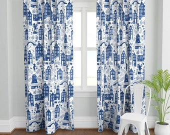 Folk Art Curtain Panel - Holland In Royal Delft Blue  by heleen_vd_thillart - Watercolor  Europe Floral Custom Curtain Panel by Spoonflower