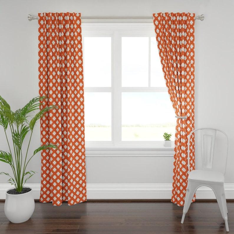 Geometeric Custom Curtain Panel by Spoonflower Swiss Cross Curtain Panel Plus Signs On Orange by