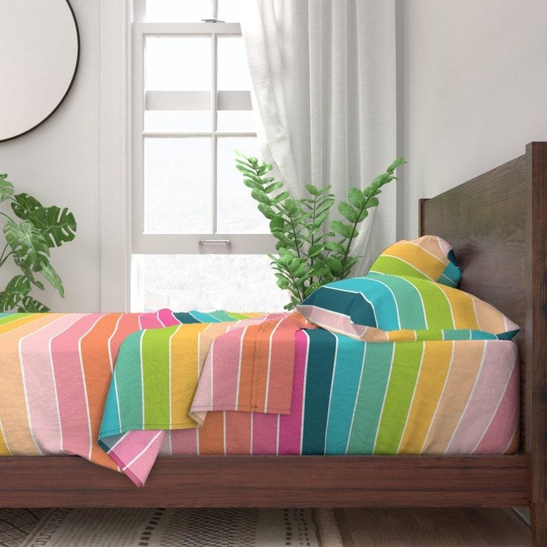 Rainbow Sheets Bright Pastel  Candy Colors Summer Stripe Cotton Sateen Sheet Set Bedding by Spoonflower Rainbow Stripe by karawhitten