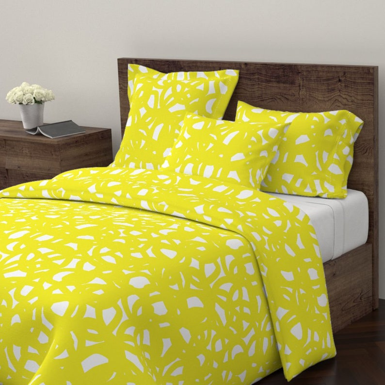 Swirls And Lines Abstract Scribbles Cotton Sateen Pillow Sham Bedding by Spoonflower Lemon Yellow Pillow Sham Freestyle by domesticate