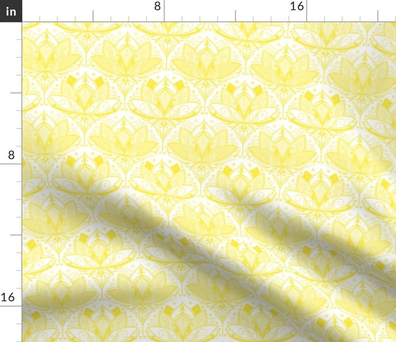 Lotus Art Deco  Mandala  Cotton Sateen Table Runner by Spoonflower Sunshine Yellow Art Nouveau Lotus Lace by micklyn Floral Table Runner