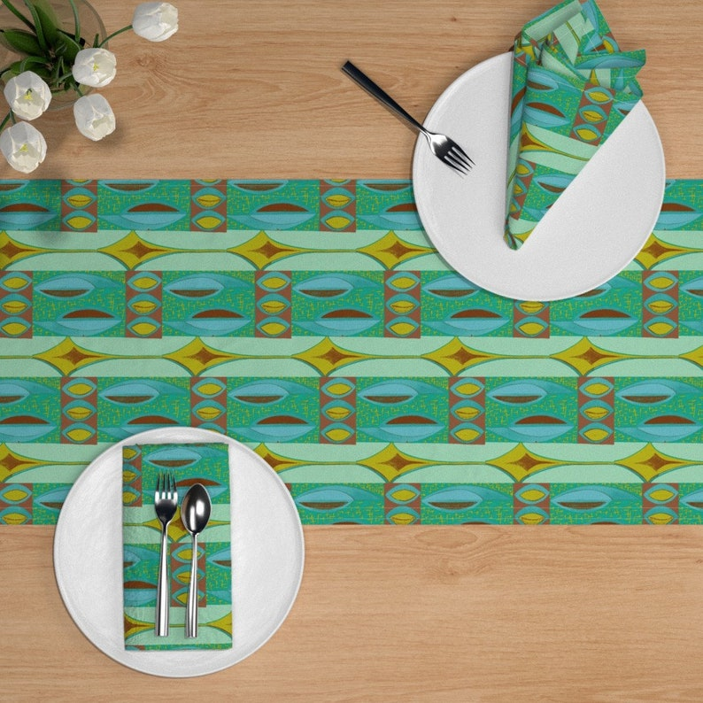 Mid Century Table Runner Abstract Shield Blue Brown by sophista-tiki/_by/_dawn/_frasier Mod  Tiki Cotton Sateen Table Runner by Spoonflower