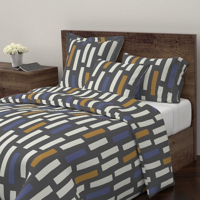 Scandinavian Cotton Sateen Pillow Sham Bedding by Spoonflower Jumbo Scale Block  by juliaschumacher Geometric Pillow Sham