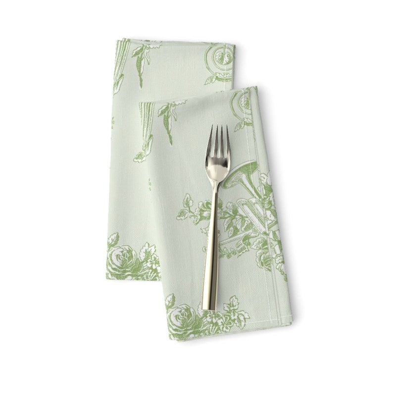 - Marie Toile Basil Green by lilyoake Vintage Rococo  Shabby Chic Floral Cloth Napkins by Spoonflower Set of 2 French Dinner Napkins