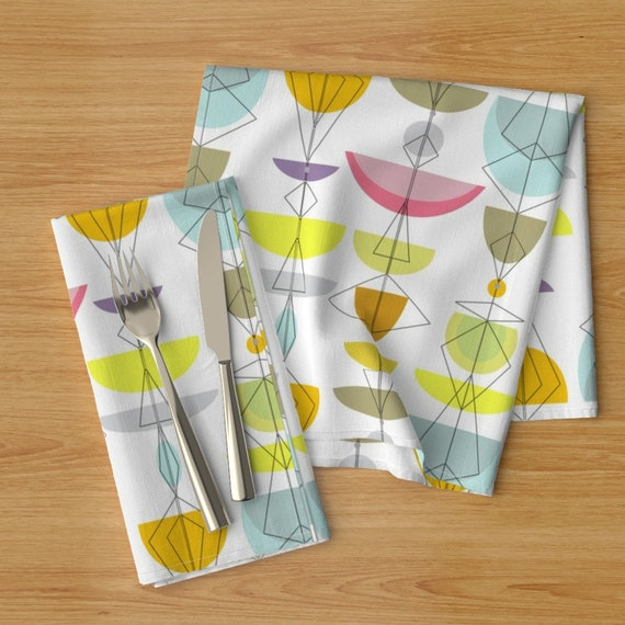 Mid Century Modern  Retro Mod Poppy  Cloth Napkins by Spoonflower Floral Dinner Napkins - Mod Poppies In Blue by wren/_leyland Set of 2