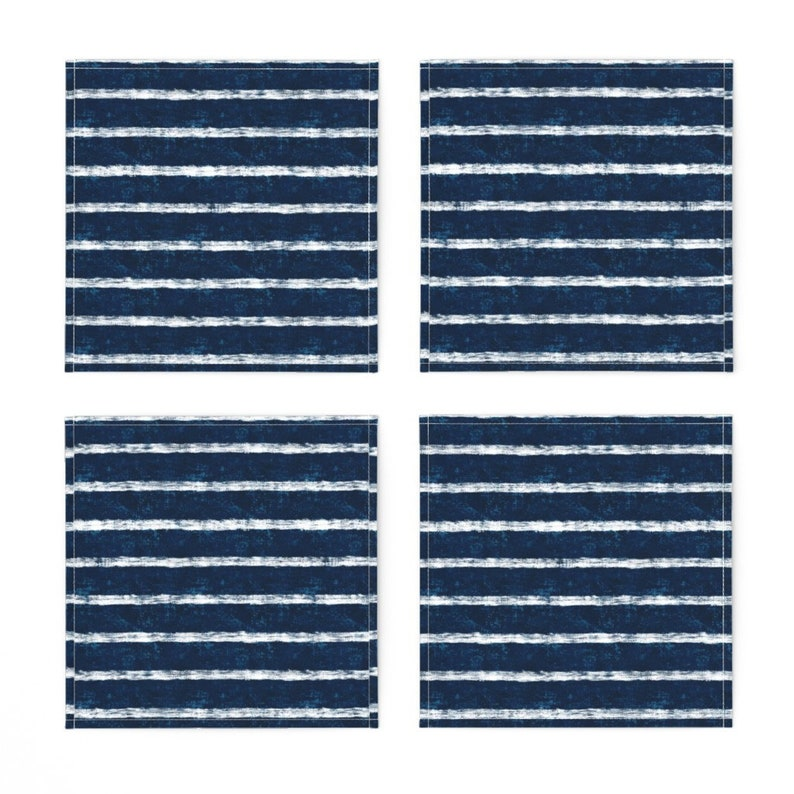 - Nautical Navy by helenpdesigns Beachy Stripes Cocktail Napkins Nautical Navy Blue  Ocean Seaside Cloth Napkins by Spoonflower Set of 4