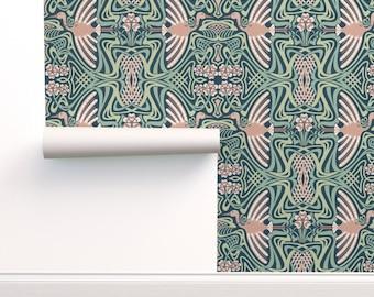 Art Nouveau Crane Wallpaper - I'll Fly Away by nanshizzle - Green Pink  Art Deco Mint Mauve Large Scale Wallpaper Double Roll by Spoonflower
