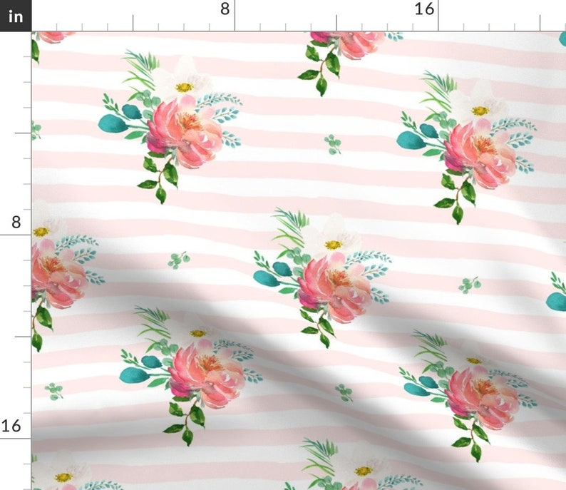 Tropical  Nursery Cloth Napkins by Spoonflower Set of 2 Boho Floral Dinner Napkins - 10.5 Flamingo Pink And White Stripe by shopcabin