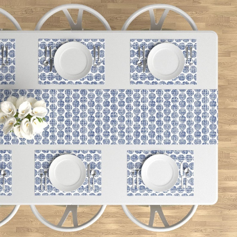 - Fern Texture Navy by littlerhodydesign Polka Dots Placemats Set of 4 Modern Home Decor Cloth Placemats by Spoonflower