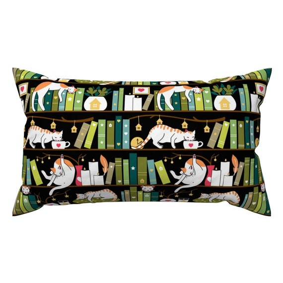 Library Cat Cute Bookshelf Books Green Black Hygge Cozy Pillow Sham by Roostery