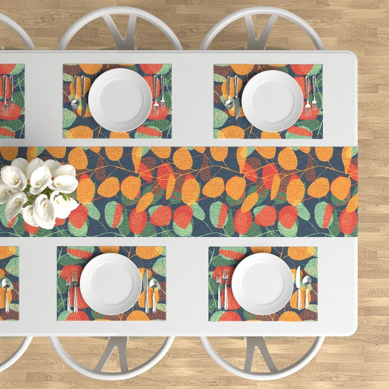 Autumn Blue Red Orange Green Aqua Cloth Placemats by Spoonflower Set of 4 Leaves Placemats - Lunaria On A Fall Day Night by chicca/_besso