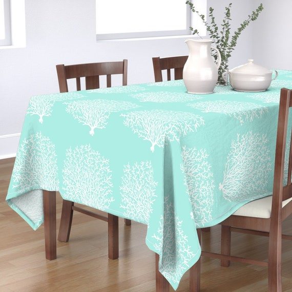 Nautical Tablecloth Coral Reef Blue By Honoluludesign Etsy