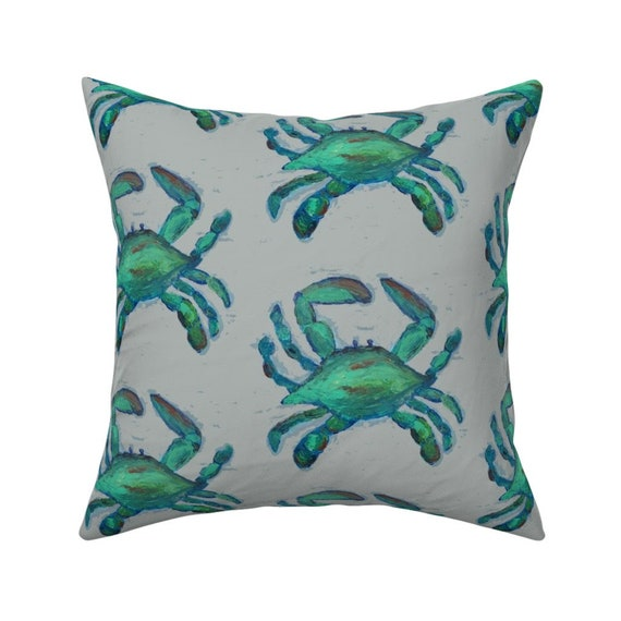 Blue Crab Throw Pillow Blue Crabs By Lisakling Marine Life Etsy