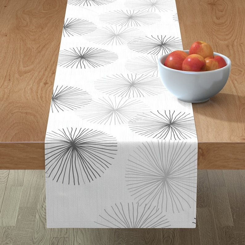 Dandelions Grayscale  by friztin Mod Floral Table Runner Mid Century Modern  Minimalist Retro Cotton Sateen Table Runner by Spoonflower