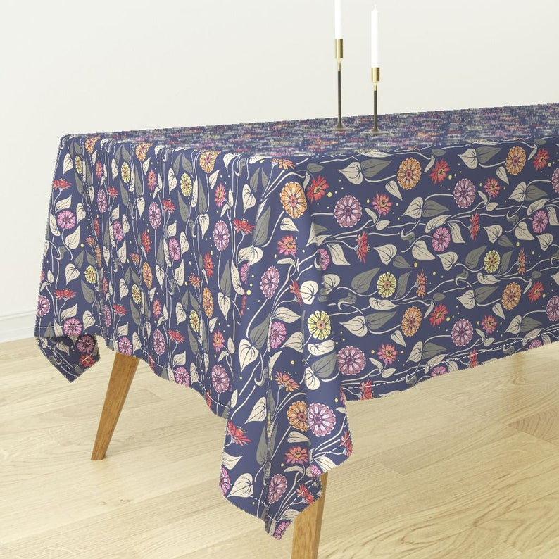 Floral Tablecloth Garden Stars Firefly Pink Circles Red Cotton Sateen Tablecloth by Spoonflower Zinnias Night Garden by katie/_hayes