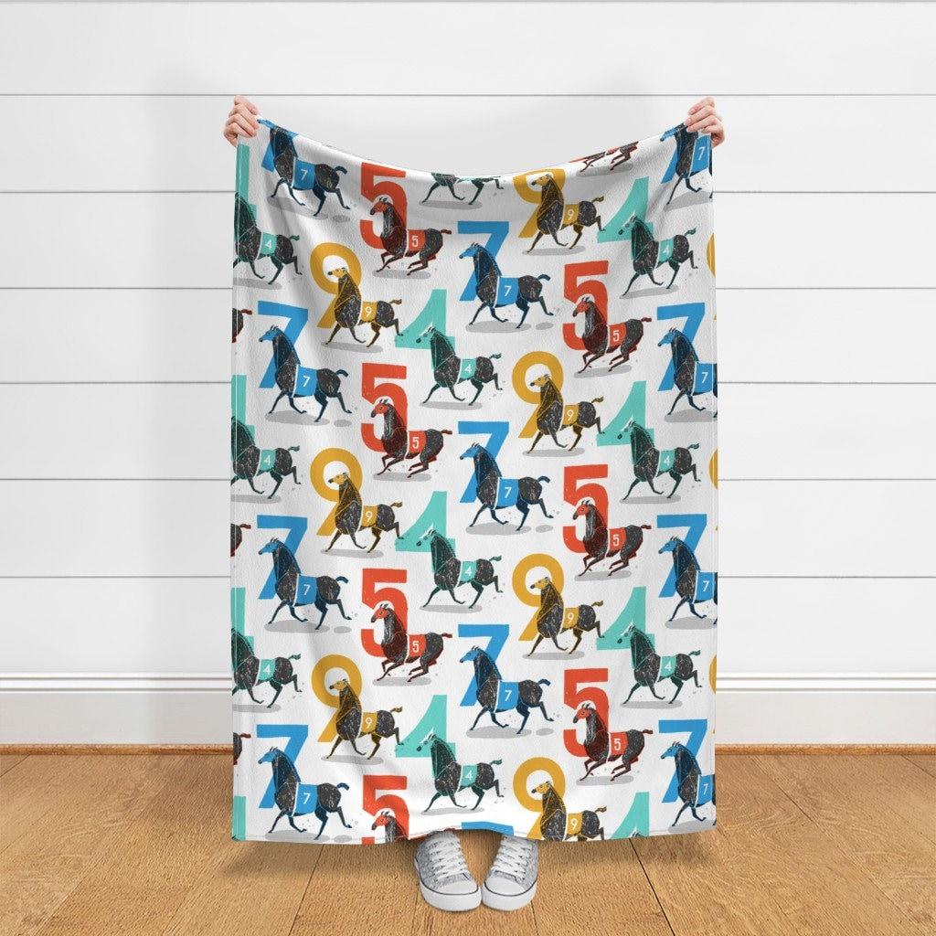 Thoroughbreds Throw Blanket - Chevaux de course grand par danlehman - Steeplechase Kentucky Racing Silks Throw Blanket with Spoonflower Fabric