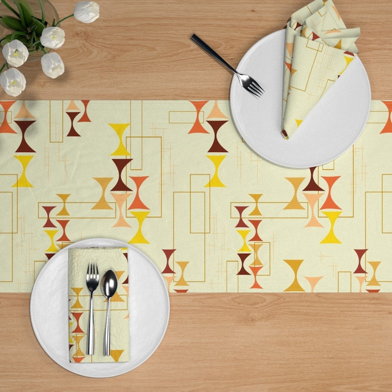 Dad/'s Den Lampshade Warm Cream Hatch Large by madtropic Lampshade  Tiki Den Cotton Sateen Table Runner by Spoonflower Retro Table Runner