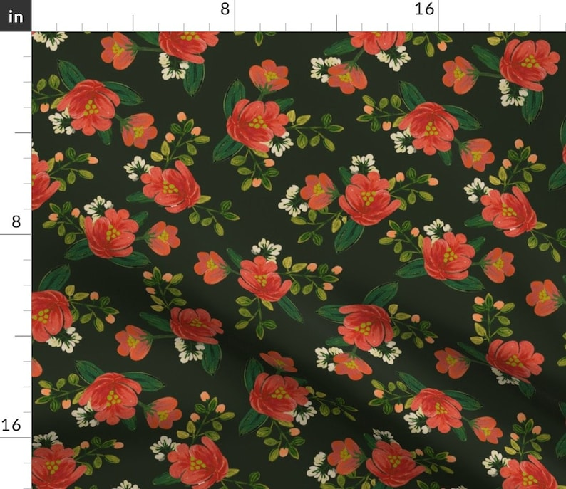 Holiday Floral Black Red Rose by shelbyallison Vintage Floral  Holiday Cotton Sateen Table Runner by Spoonflower Christmas Table Runner