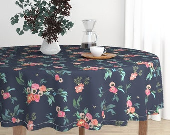 Round Tablecloth - Coral Blush Poppies on Navy w/ Butterflies & Bees by Jenlats- Luxe Cotton Sateen Round Tablecloth by Roostery Spoonflower