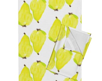 Tea Towel Set - Tuscan Pears by Cest_la_viv - Watercolor Pears Fruit Kitchen Linen Cotton Tea Towel Set by Roostery with Spoonflower
