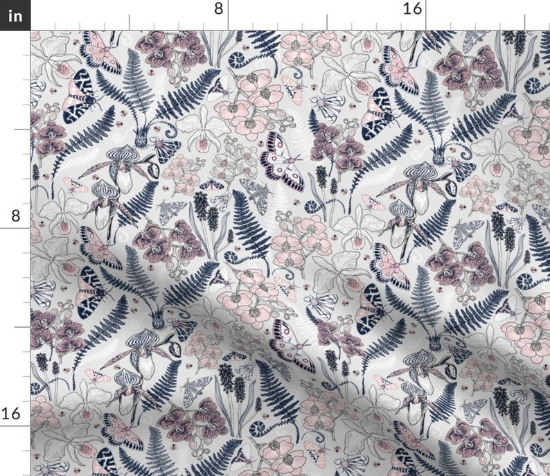 Moths Butterflies   Cloth Napkins by Spoonflower Orchid Florals Dinner Napkins Set of 2 - Orchid Botanical Study by helenpdesigns