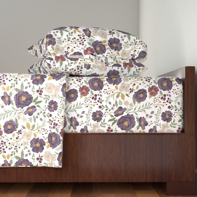 Floral Sheet Set Watercolor Flower  Sheet Set  with Spoonflower Fabrics Autumn Meadow Fall Floral By Sweeterthanhoney