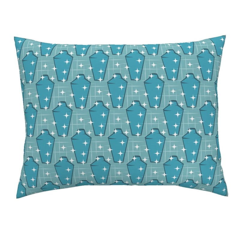 Blue Starbursts Shakers by roofdog/_designs Cocktails Pillow Sham Mid Century Modern Cotton Sateen Pillow Sham Bedding by Spoonflower
