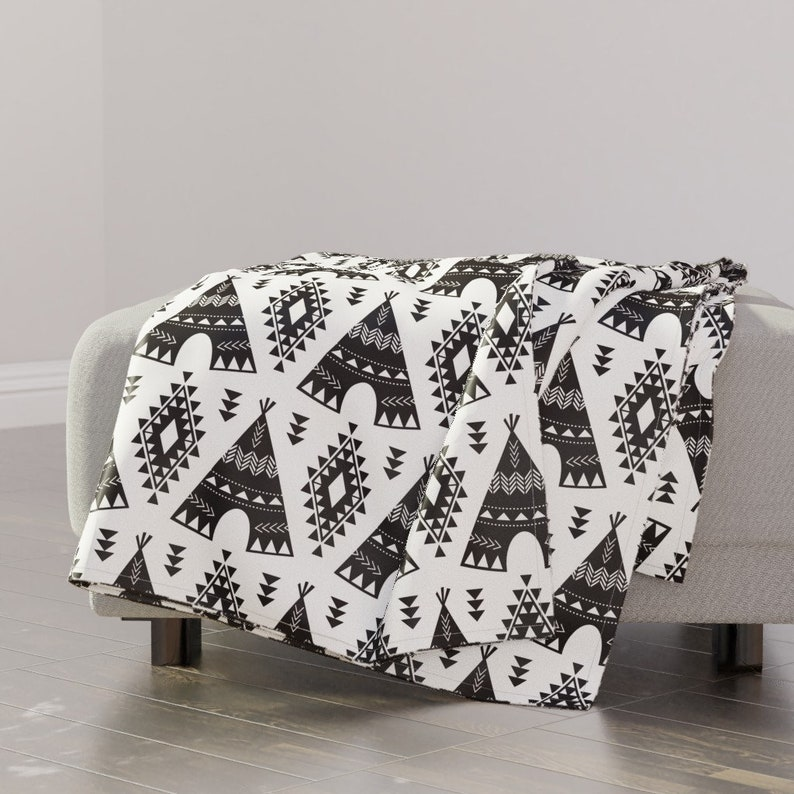 Aztec Teepees Indian Black Throw Blanket with Spoonflower Fabric Tribal Teepees Black /& White by bohemiangypsyjane Boho Throw Blanket