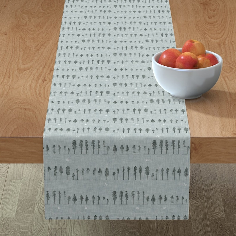 Woodland Forest  Cotton Sateen Table Runner by Spoonflower Midnight Forest Grey by nouveau/_bohemian Blue Grey Trees Table Runner