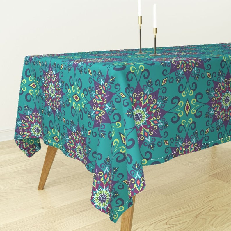 Floral Tablecloth Boho Turquoise Flower Geo Cotton Sateen Tablecloth by Spoonflower Blooming Mandala Turquoise by bohemiangypsyjane