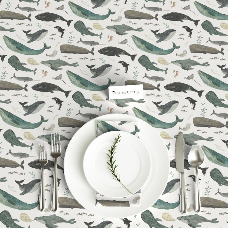 Whale Tablecloth Whale/'s Song by katherine/_quinn Nautical Sea Animals Cotton Sateen Tablecloth by Spoonflower